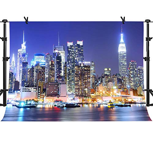 MME 10x7Ft New York City Backdrop Manhattan Night Scene Skyscraper Urban Light Background Video Studio Photo -