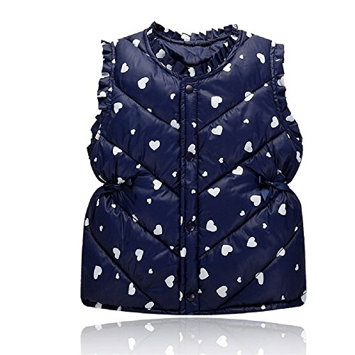 (Yilaku Little Baby Girls Vest Toddler Girl Winter Down Cotton Vests Jackets Autumn Kids Coats Bow Printing (3-4 Years, Navy Blue))