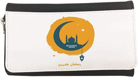 محفظة مصنوعة من الجلد بطبعة رمضان كريم