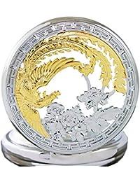 OGLE Waterproof Gold Phoenix Black Tourbillon Phases Moon Chain Fob Automatic Mechanical Pocket Watch