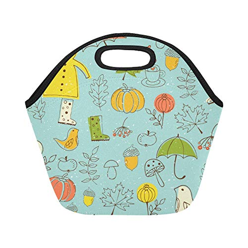 Insulated Neoprene Lunch Bag Raincoat Hand Drawn Cartoon Cute Large Size Reusable Thermal Thick Lunch Tote Bags Lunch Boxes For Outdoor Work Office School