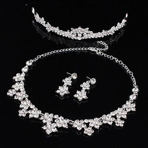Gris Perla Cristal Diamante Collar Aretes Set Boda Dama de honor Baile de graduación Vestido