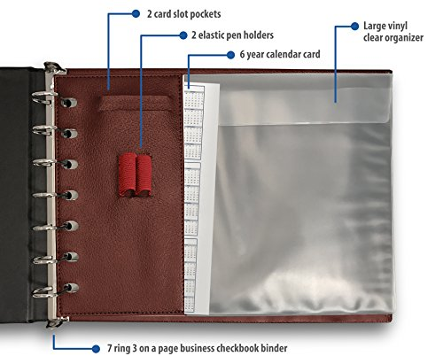 7 Ring Business Check Binder for 3 on a Page Checks   Large Storage Pouch, Calendar, and Ballpoint Pen Included, Burgundy by Essentially Yours (Image #2)