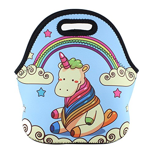 Violet Mist Neoprene Lunch Bag Tote Reusable Insulated Waterproof School Picnic Carrying Lunchbox Container Organizer For Men, Women, Adults, Kids, Girls, Boys(Unicorn2)