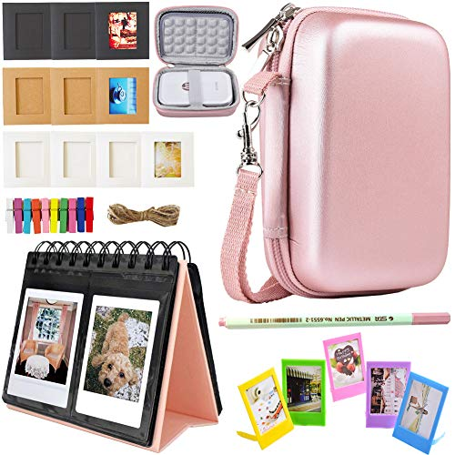 (SAIKA Printer Accessories Bundle for HP Sprocket Portable Photo Printer(2nd Edition) - [HP Sprocket Case+Photo Album+Wall Hanging Frame+Table Frame+ Pens] - Rose Gold)