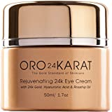 24K Eye Cream Hydrating Rejuvenating Removes Bags Under Eyes New Anti-Aging Formula Reduce Fine Lines Rich with Vitamins, Hyaluronic Acid, Rosehip Oil, and 24k Gold Made in the USA (1.7oz)