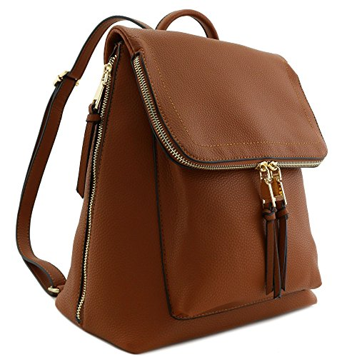 Faux Leather Zip Flapover Backpack Brown