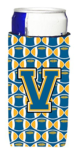 Letter V FootballブルーandゴールドUltra Beverage Insulators forスリム缶cj1077-vmuk   B01356OIHQ