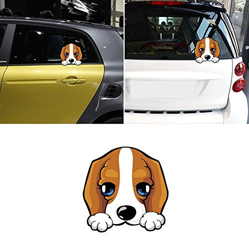 Cute Dog Peeking Reflective Car Vehicle Door Rear Window Sticker Decal Decor