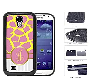 Customized Pink and Yellow Giraffe Animal Print Pattern and White Gray Vertical Stripes on Bottom with Pink and Yellow Monogram in Center Outlined in Gold 2-Piece Dual Layer High Impact Rubber Silicone Cell Phone Case Samsung Galaxy S4 SIV I9500 by icecream design