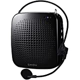 SHIDU S511 15W Voice Amplifier Portable Rechargeable LoudSpeaker Microphone PA System Support TF Card/ U Flash Disk/ MP3 Format for Tour Guides, Teachers, Speaker, Instructors, Emcees-Black