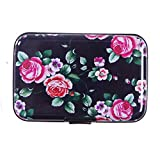 HDE Aluminum RFID Blocking Wallet Identity Protection Travel Credit Card Case (Black with Pink Flowers)