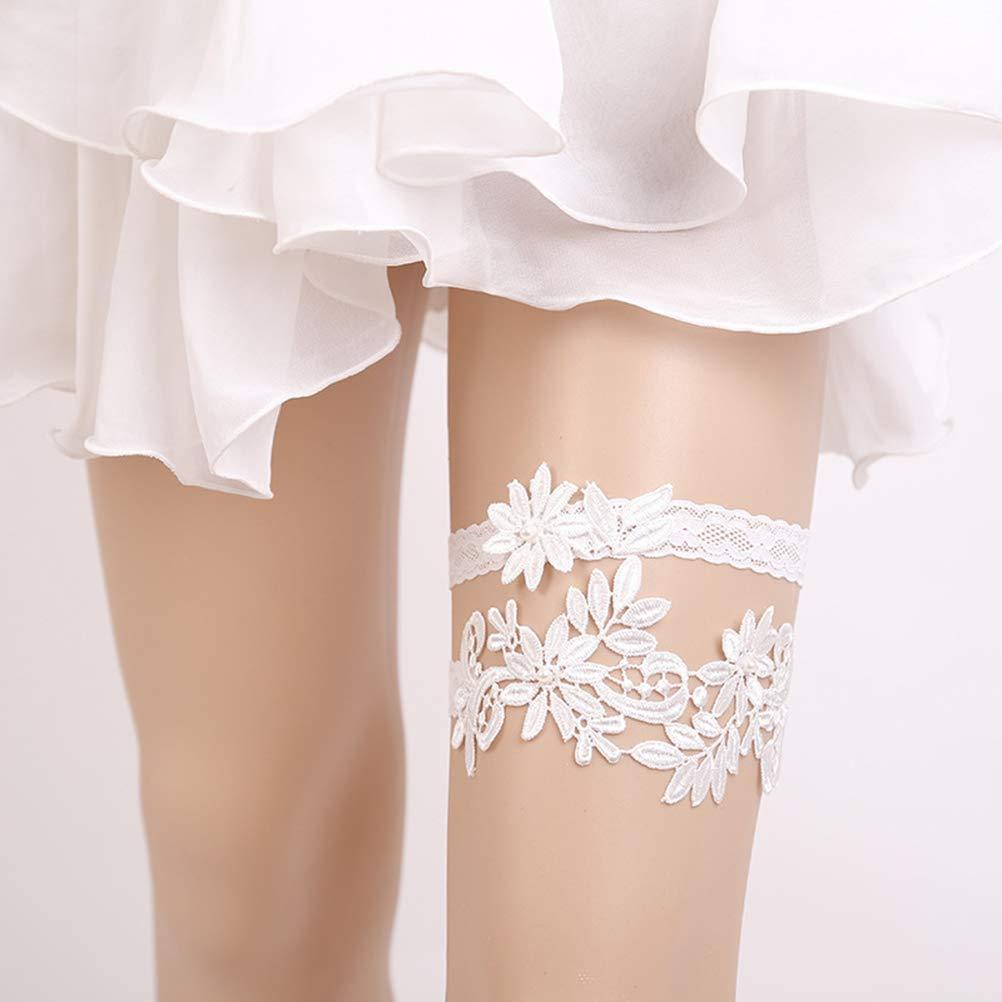 White BESTOYARD 2PCS Western Wedding Bride Garter Lace Flower Brides Foot Decor Floral Ornaments