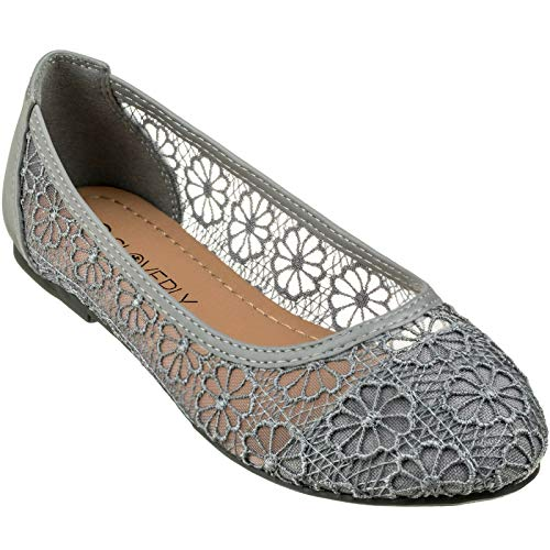 CLOVERLY Women's Ballet Shoe Floral Breathable Crochet Lace Ballet Flats (5 M US, Grey) ()