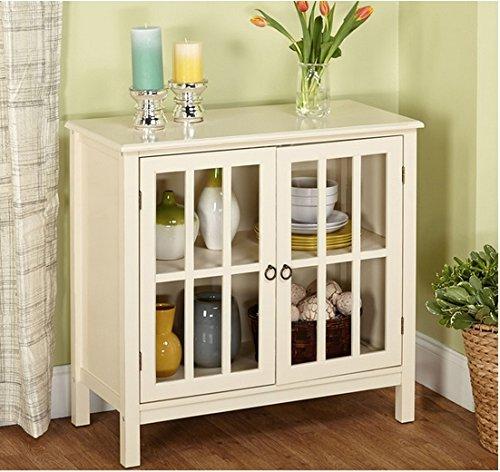 Cumberland Double Glass Door Cabinet (Antique White)
