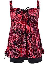 Women's Plus Size Floral Halter Tankini Set Two Piece...