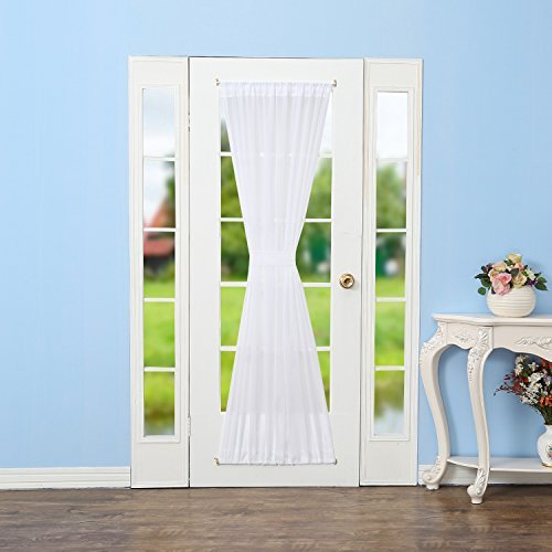 RHF Voile French Door Curtains/panel 60W by 72L Inches-White