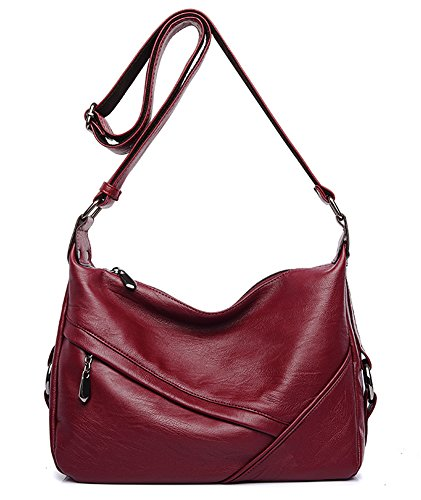 Molodo Women PU Leather Big Shoulder Bag Purse Handbag Tote Bags Wine-red