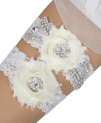 MerryJuly Lace Wedding Bridal Garter Set with Rhinestones