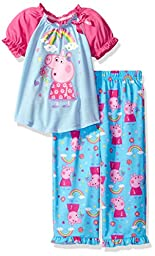 Peppa Pig Toddler Girls\' Rainbow 2pc Sleepwear Set, Blue, 4T