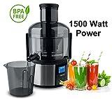 1500 Watt Saftpresse elektrischer Entsafter Power Juicer Fruchtpresse Juicer Obstpresse Digitales Display Großer Einfüllschacht für ganze Früchte
