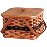 Amish Handmade Square Double Pie Basket w/Inside Tray, Lid, and Two Swinging Carrier Handles IN GREEN