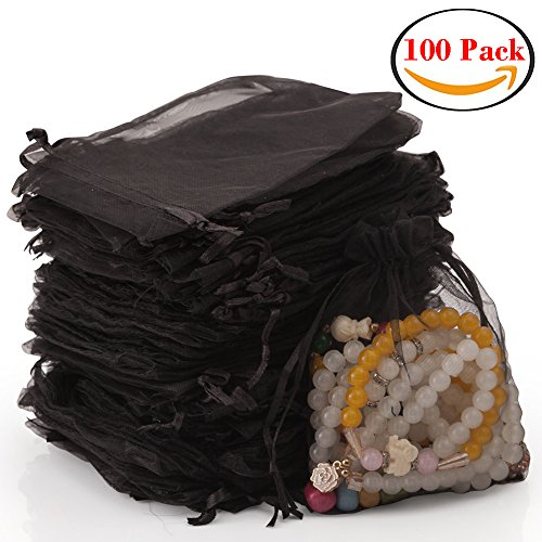 handrong 100pcs Sheer Drawstring Organza Gift Bags Jewelry Candy Chocolate Mesh Pouches for Wedding Party Bridal Baby Shower Birthday Engagement Christmas Holiday Favor, 5 x 4 Inch [Black] (Sheer Organic Shimmer)