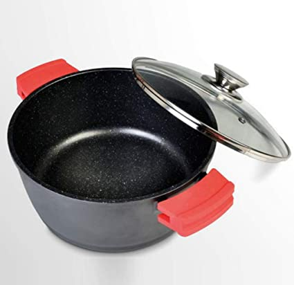 WeCook 10122 Cazuela de Cocina Inducción Profesional , Tapa de Cristal, Cacerola Antiadherente, Libre