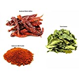 Jalpur Millers Spice Combo Pack - Dried Kashmiri Chillies 50g - Kashmiri Chilli Powder 100g - Dried Curry Leaves 50g (3 Pack)