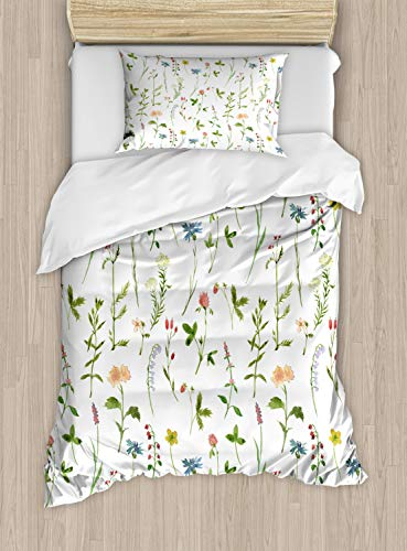 Ambesonne Floral Duvet Cover Set, Spring Season Themed Watercolors Painting of Herbs Flowers Botanical Garden Artwork, Decorative 2 Piece Bedding Set with 1 Pillow Sham, Twin Size, Ivory from Ambesonne
