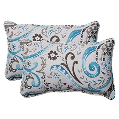 Pillow Perfect Outdoor Paisley Corded Rectangular Throw Pillow, Tidepool, Set of 2 - Includes two (2) outdoor pillows, resists weather and fading in sunlight; Suitable for indoor and outdoor use Plush Fill - 100-percent polyester fiber filling Edges of outdoor pillows are trimmed with matching fabric and cord to sit perfectly on your outdoor patio furniture - living-room-soft-furnishings, living-room, decorative-pillows - 512kB1sZeHL. SS400  -