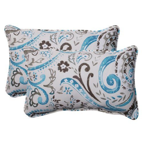 Pillow Perfect Outdoor Paisley Corded Rectangular Throw Pillow, Tidepool, Set of 2