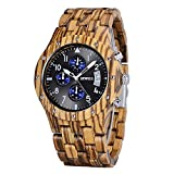 Bewell W109D Wood Watches for Men Sub-dials Date Day Luminous Hands Wristwatches Zebra