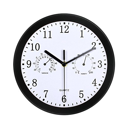 FriendShip Shop Wall Clock- Large Quartz Metal Wall Clock with Temprature and Humidity, 10'' Non Ticking Silent Sweeping Seconds, Home/Kitchen/Office/School Clock, Easy to Read (Color : Black) -