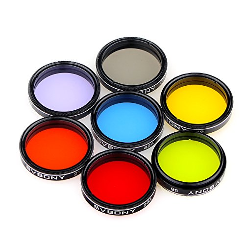 """SVBONY 1.25"""" Moon Filter CPL Filter Five Color Filters Kit 7pcs Filters Set for Enhance Lunar Planetary Views Reduces Light Pollution Telescope Eyepiece Accessories"""