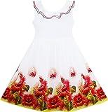 HY33 Girls Dress Sunflower Garden Turn-down Collar Sleeveless Size 6 Years