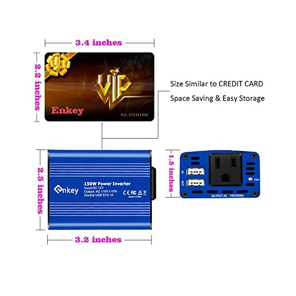 Enkey 150W Car Power Inverter DC 12V To 110V AC Converter With 31A Dual USB Charger Blue