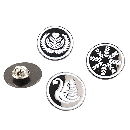 Pins Set, Unique Latte Art Brooches Metal Brooches Lapel Pins Badge for Barista and Coffee Lover for Clothes Backpack Bag Decor (4pcs) ()