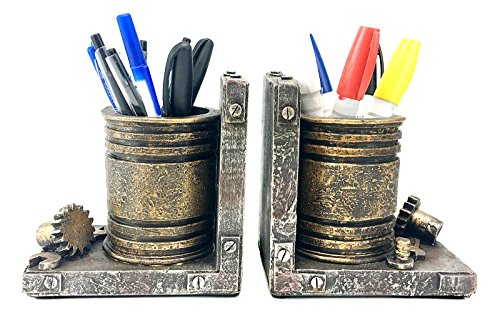 Bellaa 20911 Industrial Bookend Pen and Pencil Holder Drum by Bellaa