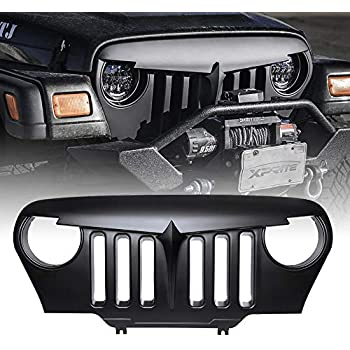 Xprite New Generation G2 Matte Black Angry Bird Grille Grid Grill Overlay For 1997-2006 Jeep Wrangler TJ LJ