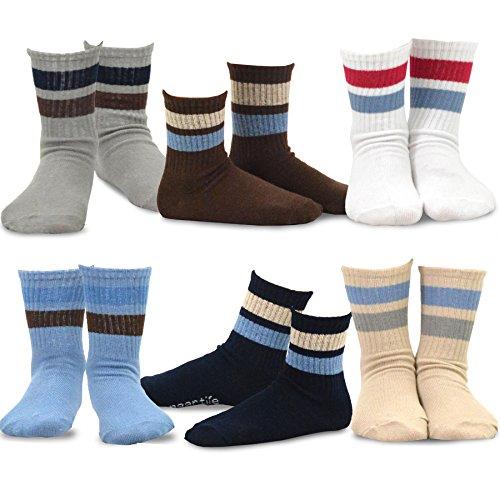 Naartjie Boys Sports Crew Socks Rib Stripe 6 Pair Pack (18-24M) (Classic Sock Dress Rib)