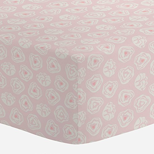 Pink Rosette (Carousel Designs Pale Pink and Ivory Modern Rosettes Crib Sheet - Organic 100% Cotton Fitted Crib Sheet - Made in the USA)