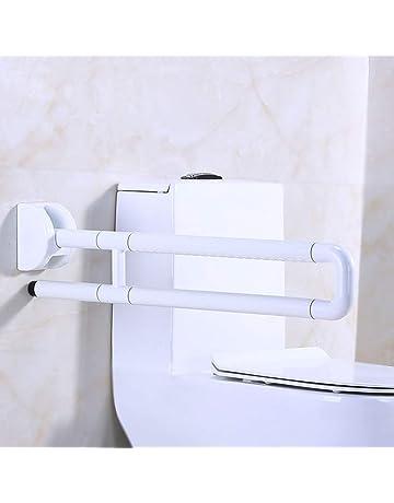 Barandillas plegables sin barreras, manija blanca de seguridad para el inodoro, cojinete de 300