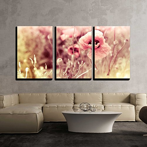 wall26 - 3 Piece Canvas Wall Art - Morning Flowers Meadow - Vintage Photo Background - Modern Home Decor Stretched and Framed Ready to Hang - 16