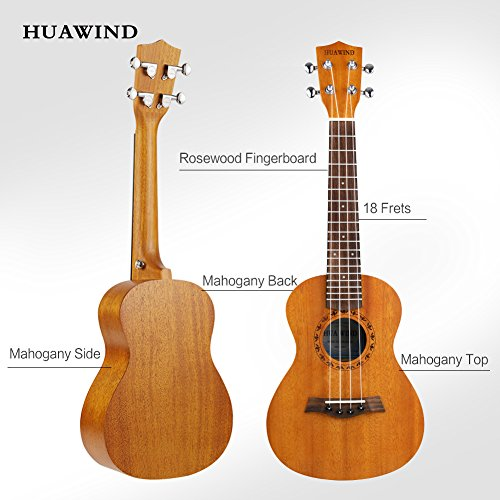 Concert Ukulele HUAWIND Mahogany 23 inch Professional Wooden Ukelele Instrument Kit w/Gig bag Digital Tuner Strap for Beginners