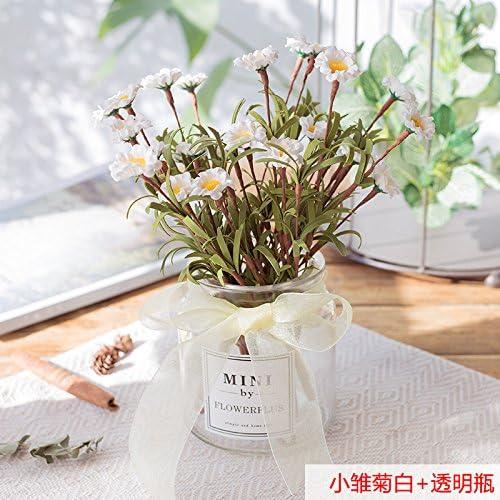 LXFLY Flores Artificiales Hogar Oficina de la Decoración Dormitorio Sala de Estar Flor Falsa Rosa Plástico Pequeño Azul Marino En Maceta Pequeña Margarita Blanca + Botella Transparente: Amazon.es: Hogar