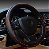 Rueesh Steering Wheel Cover - Genuine Leather, Heavy Duty, Thick, Elegant, Anti-Slip, 15 inch Middle Size - Black & Red Line