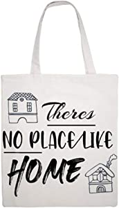 Customized Cotton Canvas Tote Bag Theres No Place Like Home Decorative Design Shoulder Grocery Shopping Bags Funny Printed Bag