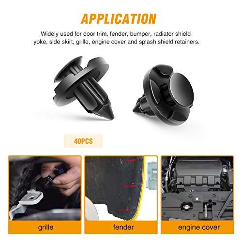 GOOACC GRC-09 40 Pcs Clips Nylon Bumper Fastener Rivet OEM Replacement-#01553-09321 Fender Liner and Radiator 8mm-40PCS