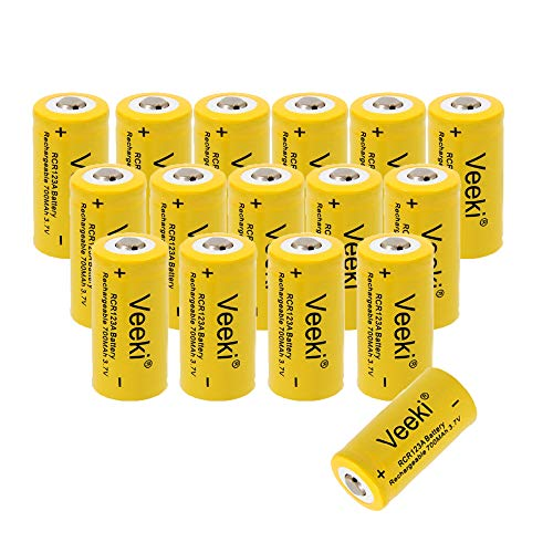 CR123A Rechargeable Batteries, 3.7V 700mAh Li-ion RCR123A Rechargeable Battery for Arlo Security Camera VMS3030/3230/3330/3430/3530 Flashlight (16 Batteries)